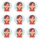 Funny Emotions Cute Girl Avatar Icons Set Flat