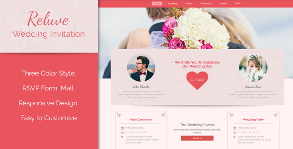 Reluve – Responsive Wedding Landing Web page (Wedding)