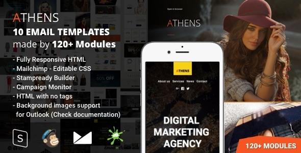 Athens - 10 Responsive Email Templates (120+ Modules) with Mailchimp Editor & StampReady Builder