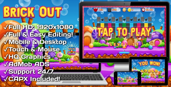Download Brick Out - HTML5 Game, Mobile Vesion+AdMob!!! (Construct-2 CAPX)