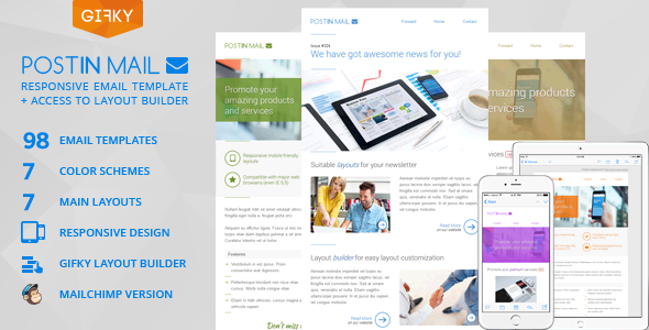 Download Postin Mail - Responsive Email Template + Access to Gifky Layout Builder nulled download