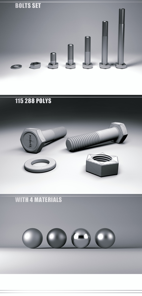 M10 Bolts - 3DOcean Item for Sale