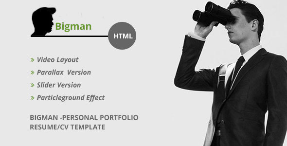 Download Bigman- Personal Portfolio Resume/CV HTML Template