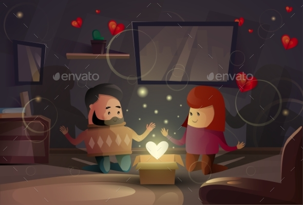 Valentine Day Gift Card Holiday Couple Lovers