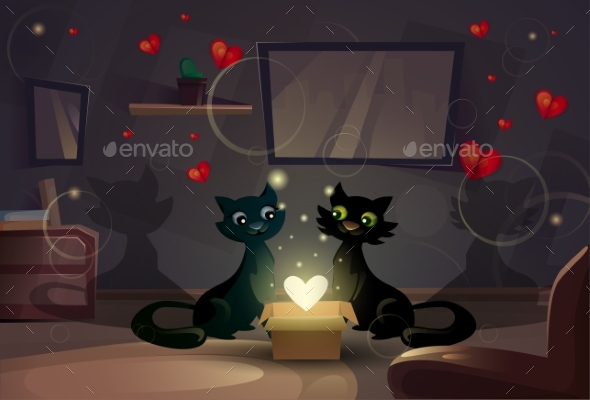 Valentine Day Gift Card Holiday Cat Couple Heart