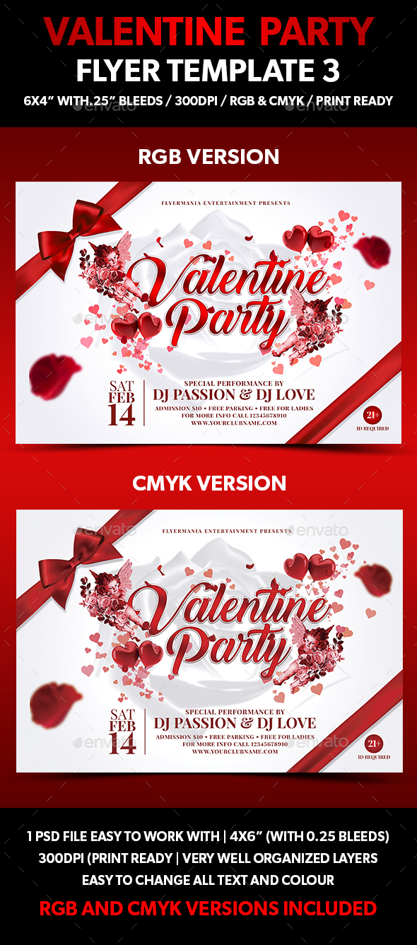 Valentine Party Flyer Template 3