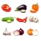 Raw Vegetables Isolated Icons