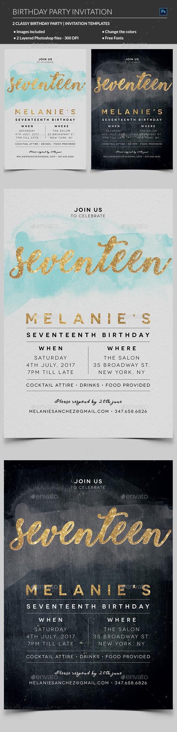 Elegant Birthday Invitation