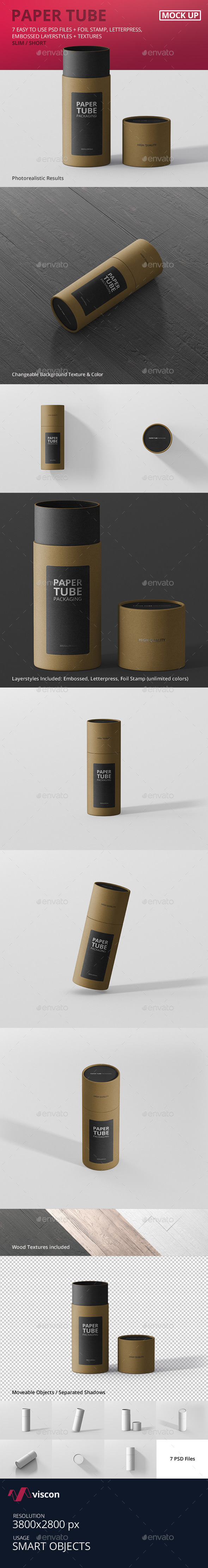 Paper Tube Packaging Mockup - Slim Short