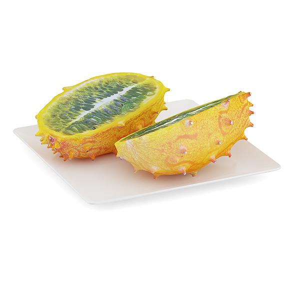 Sliced Horned Melon on White Plate - 3DOcean Item for Sale