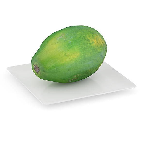 Papaya on White Plate - 3DOcean Item for Sale
