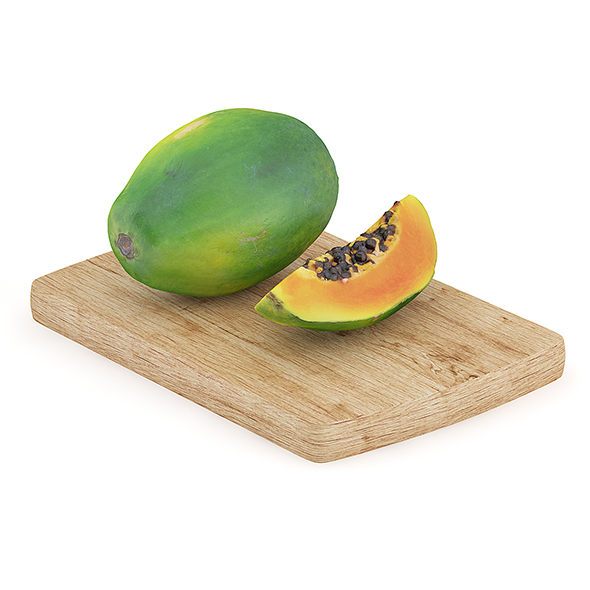 Papaya on Wooden Board - 3DOcean Item for Sale