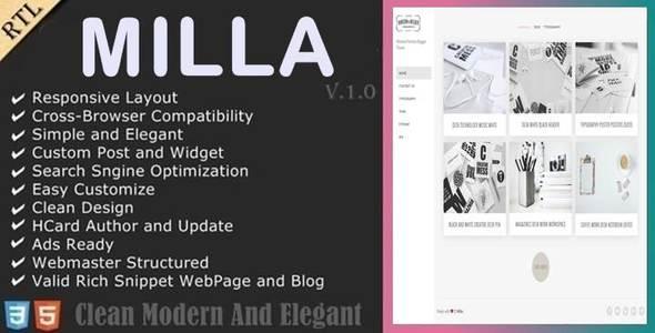 Milla - Minimal Porfolio Blogger Theme