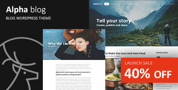 Alpha-blog - Clean WordPress Blog Theme
