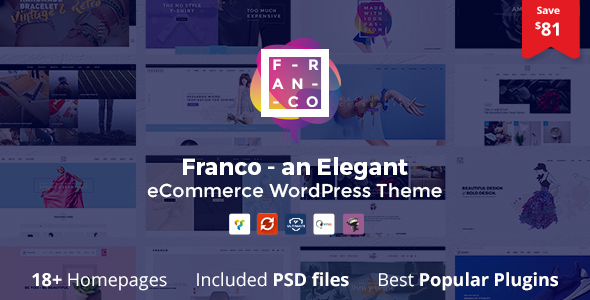 Фото Шаблон Wordpress  Franco - Elegant WooCommerce WordPress Theme — 00 preview 2.  large preview