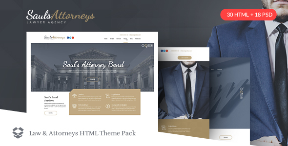 SaulsAttorneys - Lawyers & Attorneys HTML Theme Pack