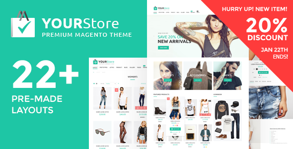 01 Preview Magento.  large preview - YourStore - Premium Multipurpose Magento theme