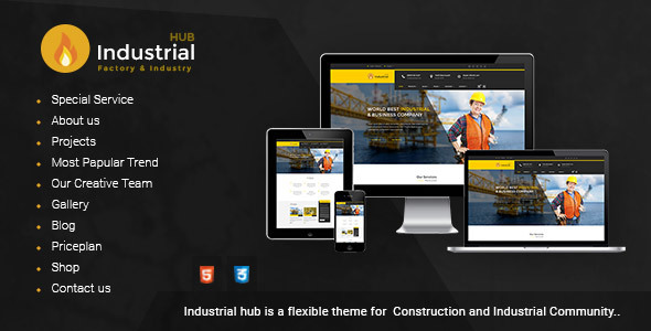Industrial Hub - Factory / Industrial / Construction Html Template