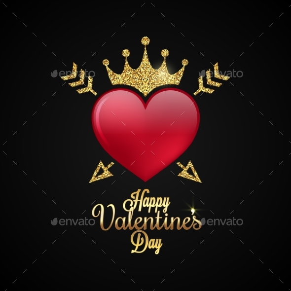 Valentines Day Heart Gold Lettering Background