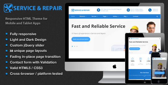 Repair Service – House Upkeep, Responsive HTML5 Template (Small business)