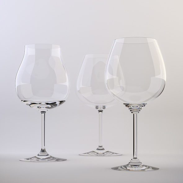 Red Wine Glasses - 3DOcean Item for Sale