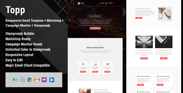 Topp – Responsive E mail Template + Mailchimp + Campaign Monitor + Stampready Builder (E mail Templates)
