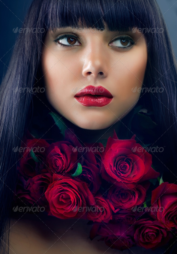 Beautiful Fashion Girl with Roses - Stock Photo - Images