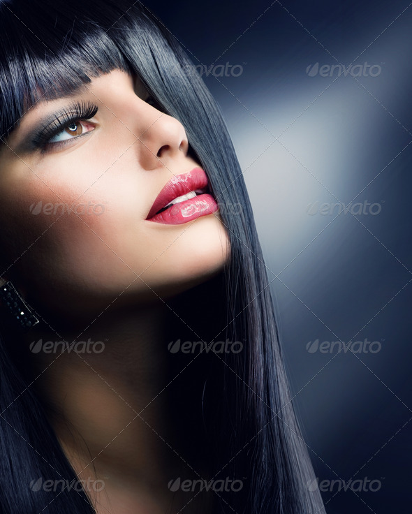 PhotoDune Fashion Brunette Beautiful Makeup and Healthy Black Hair 1899189