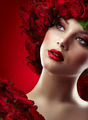 Beautiful Fashion Girl with red makeup and Roses. Hairstyle - PhotoDune Item for Sale