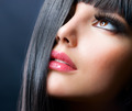 Fashion Brunette . Beautiful Makeup and Healthy Black Hair - PhotoDune Item for Sale
