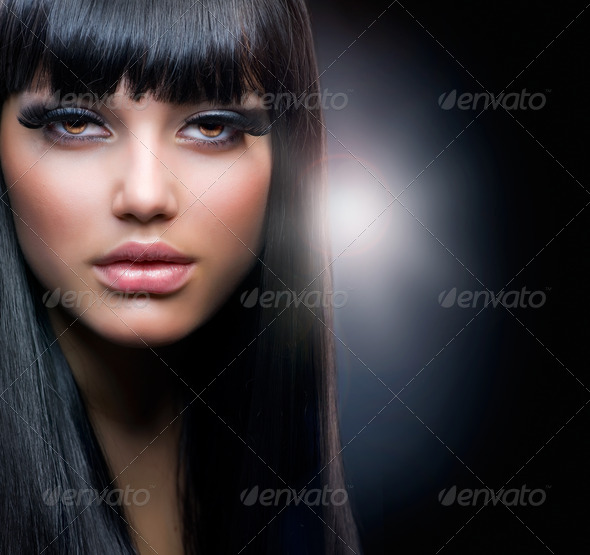 PhotoDune Fashion Brunette.Beautiful Makeup and Healthy Black Hair 1899201