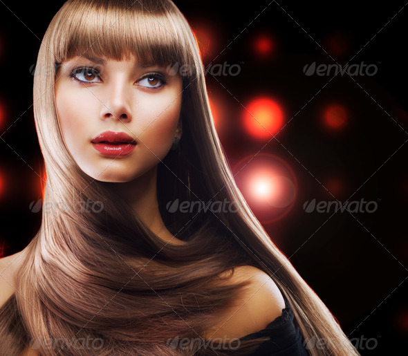 Beauty with Long Brown Hair - Stock Photo - Images