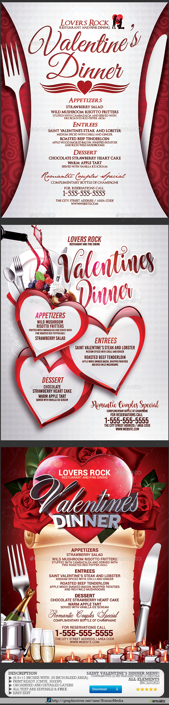 Valentines Dinner Menu Bundle