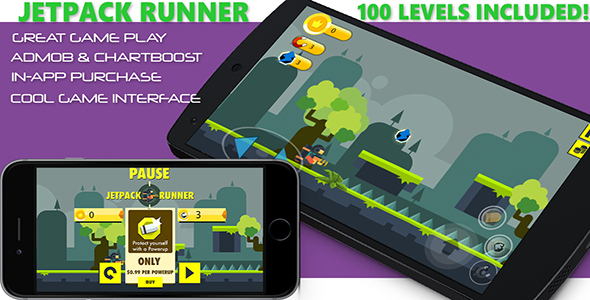 Download Jetpack Runner Buildbox Game Template - 100 Levels - Admob - Chartboost - IAP nulled download