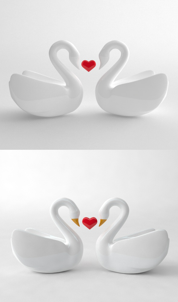 Swan couple - 3DOcean Item for Sale