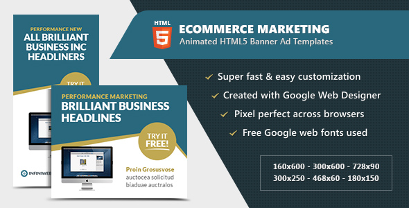 eCommerce Advertising Banners – Animated HTML5 GWD (Ad Templates)