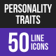 Personality Traits Line Inverted Icons