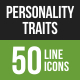 Personality Traits Line Green & Black Icons