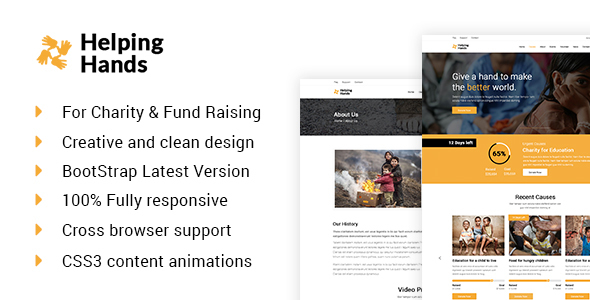 Helping Hands-Charity, Donation & Nonprofit  HTML Template