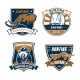 Hunting Safari Club Vector Icons, Hunter Emblems