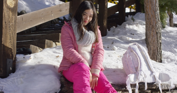 VideoHive Young Beautiful Asian Woman Relaxing During Winter 19329844