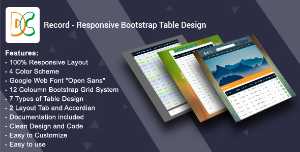 Download Record - Responsive Bootstrap Table Design nulled download
