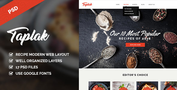 Taplak - Modern Food Recipe PSD Template