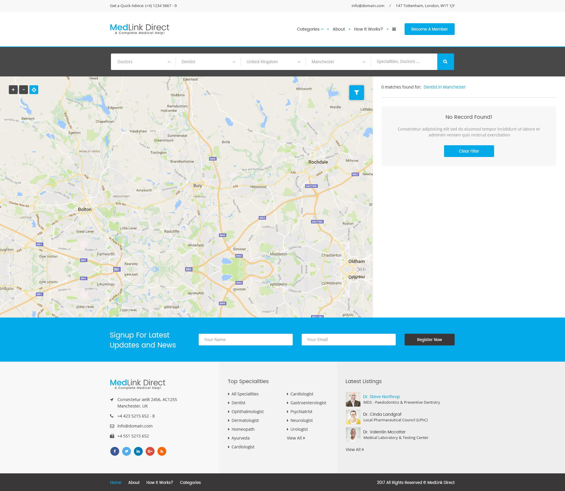 Search Results: Doctor Directory - PSD Template By ExproStudio