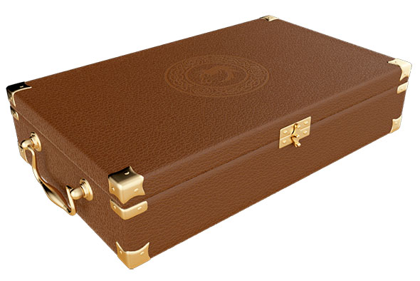 A small leather suitcase with a decorative stamp in the texture of the cover. - 3DOcean Item for Sale