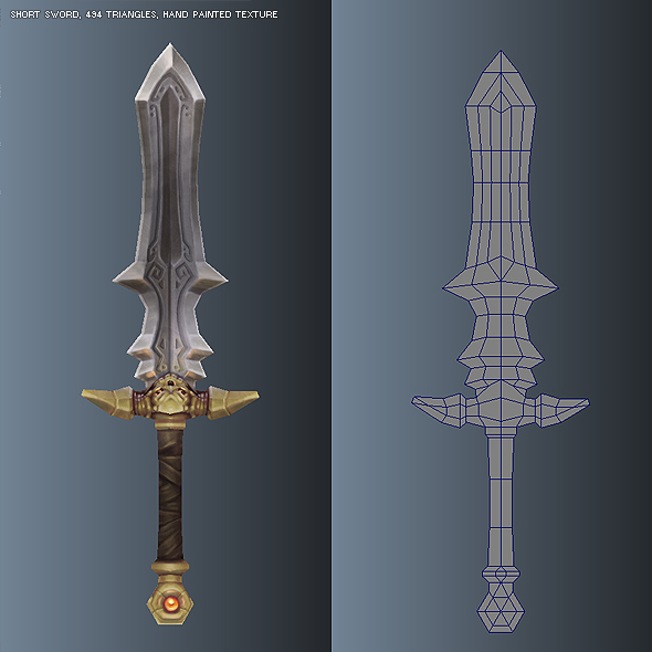 Low poly simple short sword 03 by bitgem 3docean Simple 3d modeling online