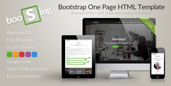 Download BooSign - Responsive Bootstrap One Page HTML Template