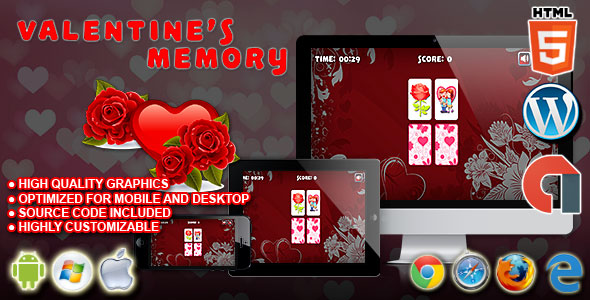 Valentine's Memory - HTML5 Construct 2 Puzzle Game