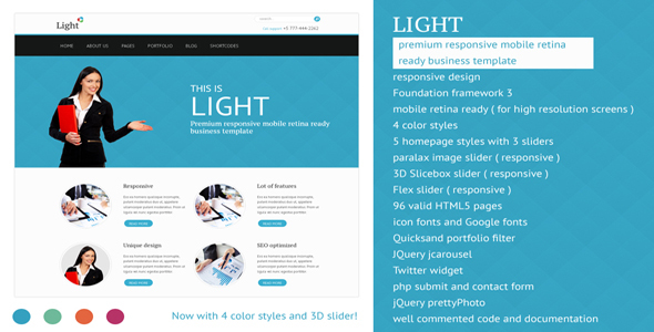 Light - Responsive Mobile Retina Ready Template