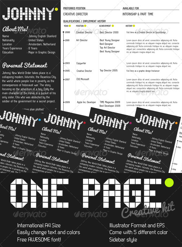 One Page Creative Resume Kit - Resumes Stationery